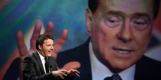 """Il Presidente del Consiglio dei Ministri, Matteo Renzi, durante la  trasmissione: """"In 1/2 Ora"""", condotta dalla giornalista Lucia Annunziata, nella sede della Rai di via Teulada, 27 aprile 2014, a Roma.  ANSA/CLAUDIO ONORATI"""