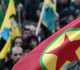 Members of the Kurdish community wave flags and banners of convicted Kurdistan Worker's Party (PKK) leader Abdullah Ocalan during a demonstration calling for Ocalan's release in Strasbourg, Eastern France, on February 14, 2015.   Ocalan was captured by Turkish undercover agents in Kenya in 1999, brought back to Turkey and sentenced to death. His sentence was later commuted to life.  AFP PHOTO/FREDERICK FLORIN        (Photo credit should read FREDERICK FLORIN/AFP/Getty Images)
