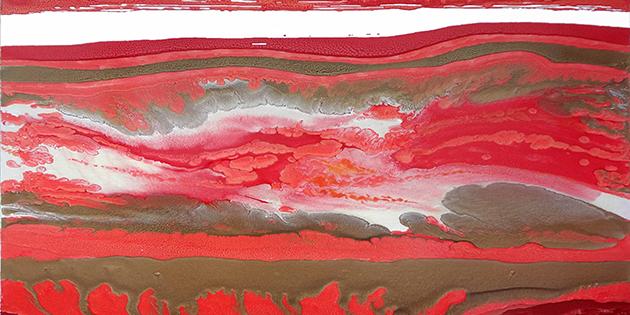 Profondo rosso, 2018, smalto su tela, 100 x 100 cm