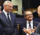 Italian Finance Minister Giovanni Tria, second right, speaks with French Finance Minister Bruno Le Maire, second left, and European Commissioner for Economic and Financial Affairs Pierre Moscovici during a round table meeting of eurogroup finance ministers at the European Council building in Luxembourg, Monday, Oct. 1, 2018. (ANSA/AP Photo/Geert Vanden Wijngaert) [CopyrightNotice: Copyright 2018 The Associated Press. All rights reserved]