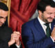 Italyís Interior Minister and deputy PM Matteo Salvini (R) and Italyís Labor and Industry Minister and deputy PM Luigi Di Maio gesture during the swearing in ceremony of the new government led by Prime Minister Giuseppe Conte at Quirinale Palace in Rome on June 1, 2018.  Italian cabinet members of the new government led by newly appointed Prime Minister Giuseppe Conte have been sworn in, after a last-ditch coalition deal was hammered out to end months of political deadlock, narrowly avoiding snap elections in the eurozone's third largest economy.  / AFP PHOTO / Alberto PIZZOLI
