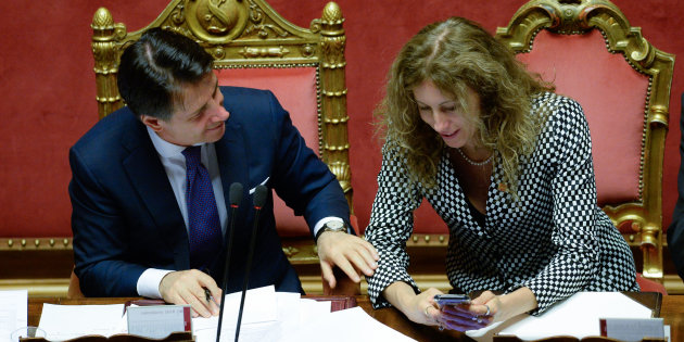 Prime Minister, Giuseppe Conte and Erika Stefani, Minister of Regional Affairs attend the confidence vote for the new government at the Italian Senate on June 5, 2018 in Rome, Italy. (Photo by Silvia Lore/NurPhoto via Getty Images)